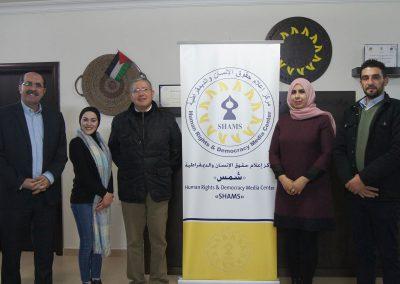زيارة سفير جمهورية الأكوادور لدى فلسطين الدكتور لويس اريلانو جيباجا لمركز شمس