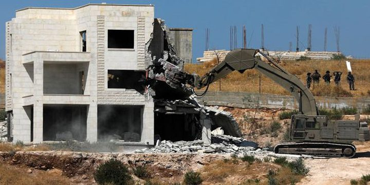 """""""SHAMS"""" Center issues its monthly report on the demolitions committed against the houses and installations of Palestinian citizens by the occupation"""